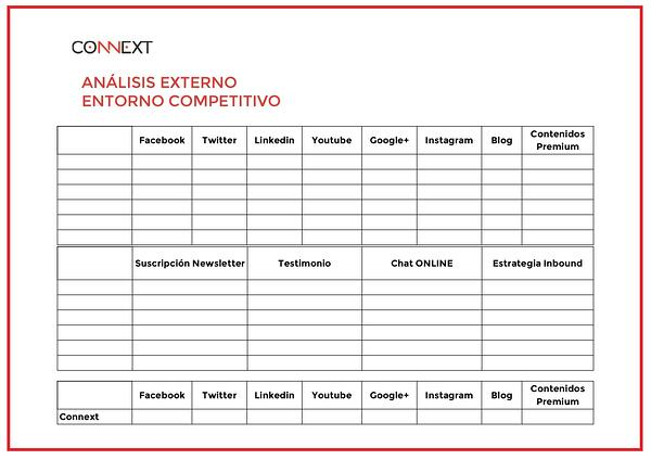 analisis externo para plan de marketing B2B anual connext